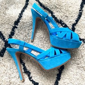 Gianvitto Rossi blue suede strappy heels